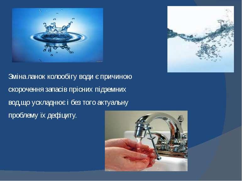 Зміна ланок колообігу води є причиною скорочення запасів прісних підземних во...