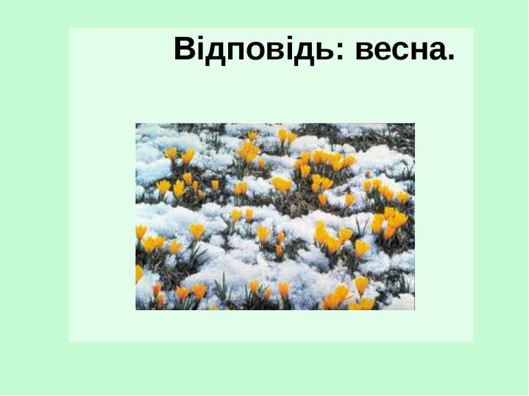 Відповідь: весна.