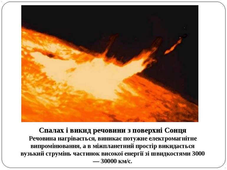 Спалах і викид речовини з поверхні Сонця Речовина нагрівається, виникає потуж...