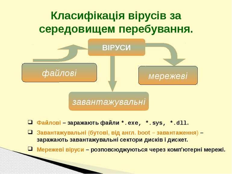 Класифікація вірусів за середовищем перебування. файлові завантажувальні мере...