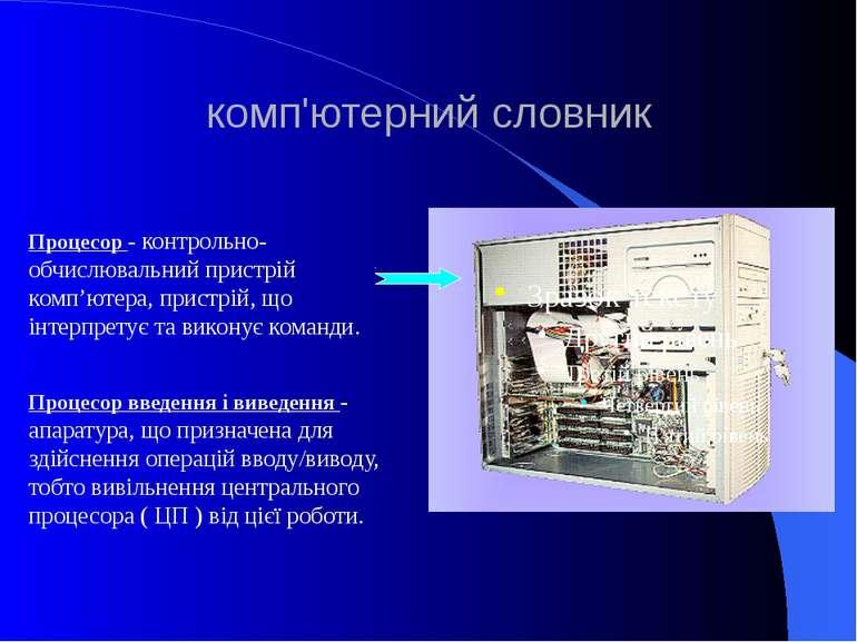 комп'ютерний словник Процесор - контрольно-обчислювальний пристрій комп'ютера...