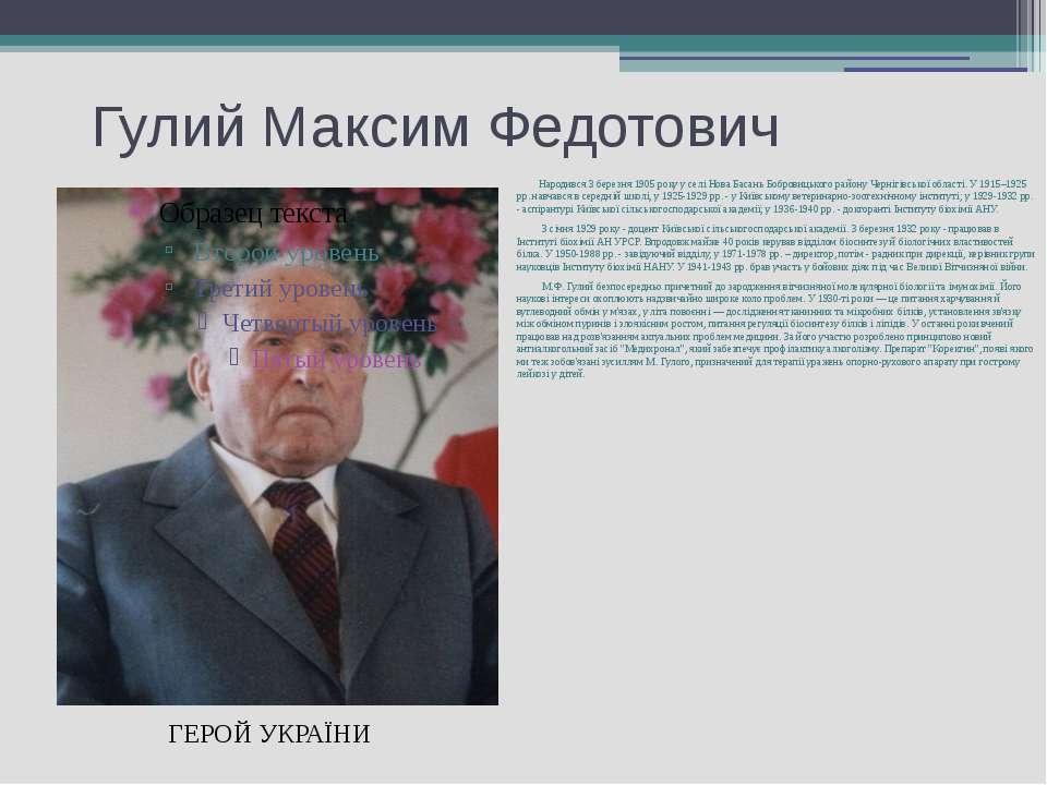 Гулий Максим Федотович Народився 3 березня 1905 року у селі Нова Басань Бобро...