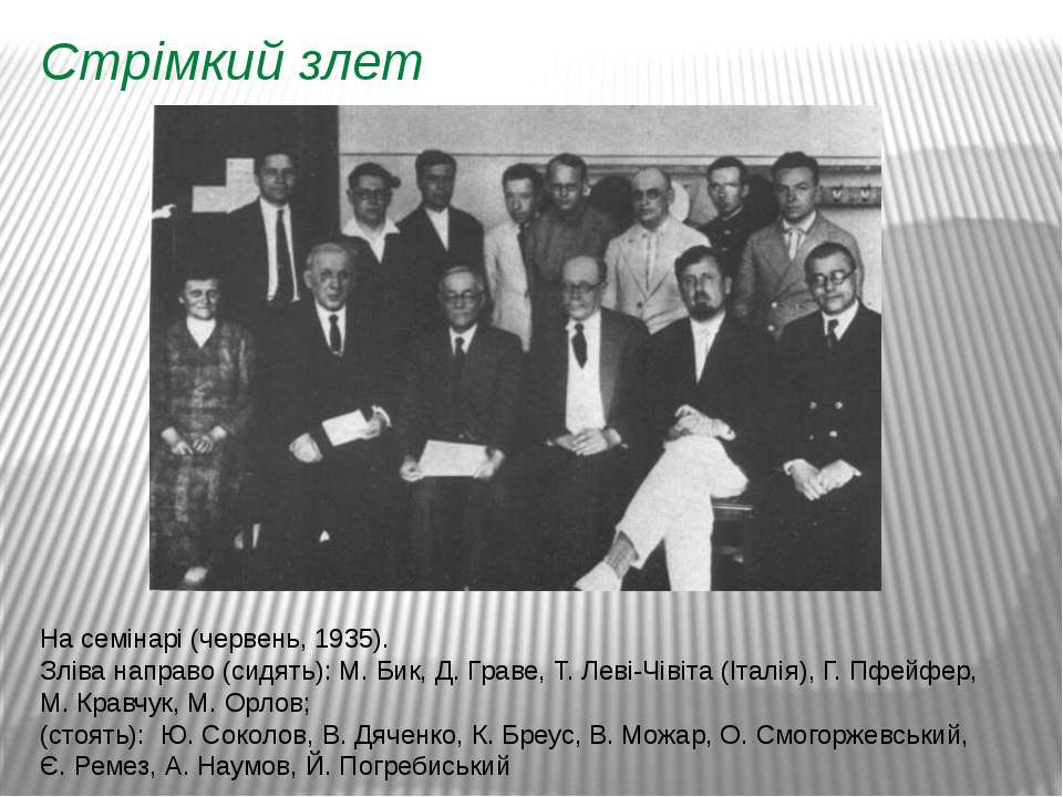 Стрімкий злет На семінарі (червень, 1935). Зліва направо (сидять): М.Бик, Д....
