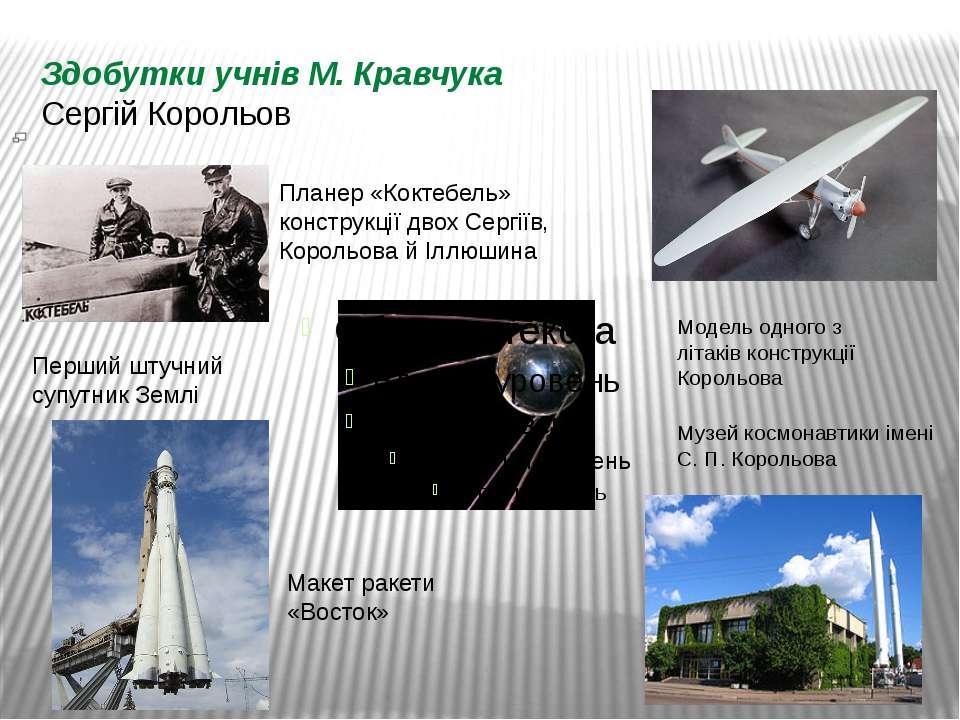 Здобутки учнів М. Кравчука Сергій Корольов Перший штучний супутник Землі Маке...