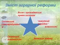 Воля і громадянські права селянам Селянське самоврядування Селянські повиннос...