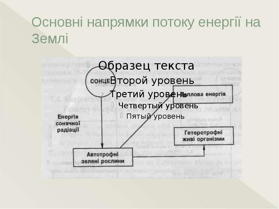 Основні напрямки потоку енергії на Землі Всю біосферу можна розцінювати як єд...