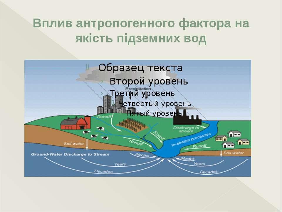 Вплив антропогенного фактора на якість підземних вод Основними джерелами забр...