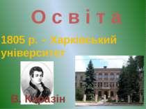 О с в і т а 1805 р. – Харківський університет В. Каразін