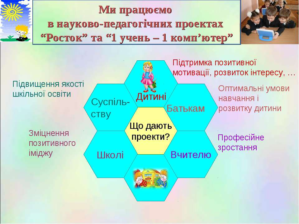 """Ми працюємо в науково-педагогічних проектах """"Росток"""" та """"1 учень – 1 комп'юте..."""