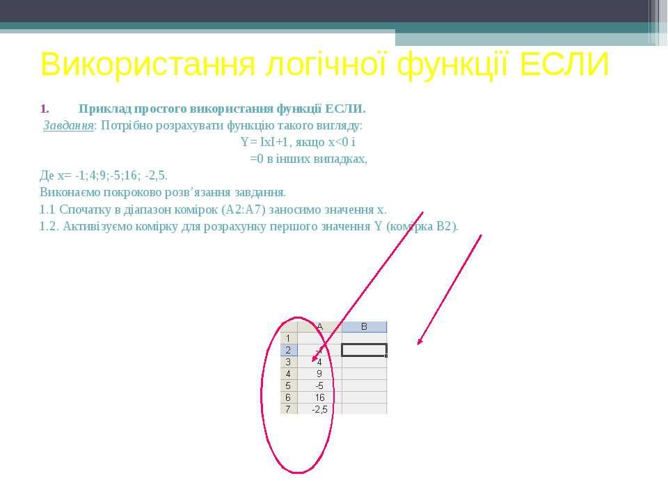 Використання логічної функції ЕСЛИ Приклад простого використання функції ЕСЛИ...