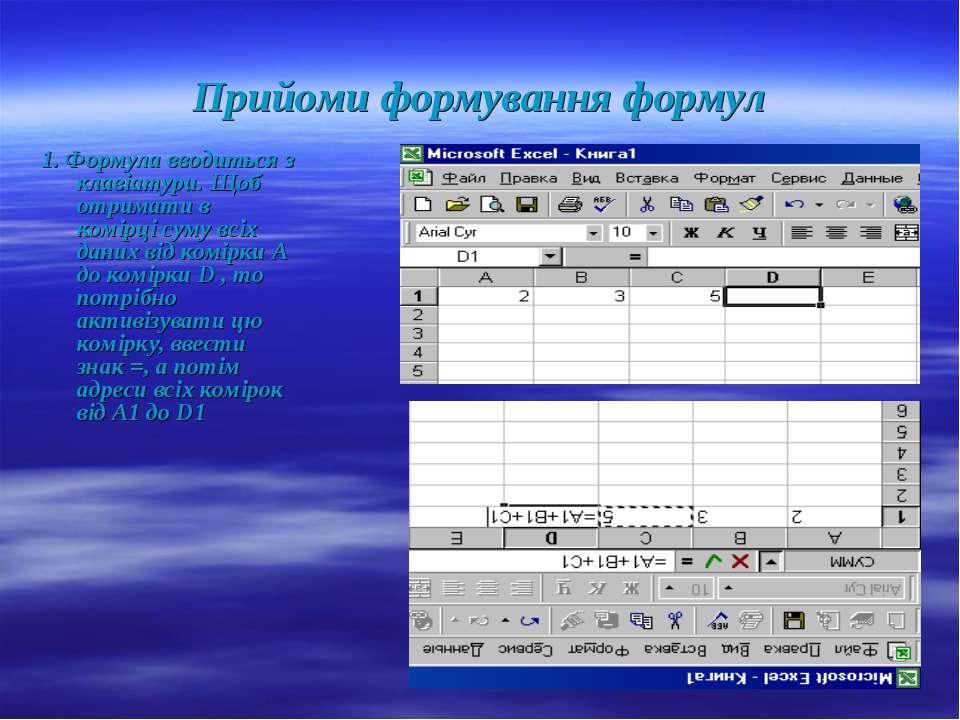 Використання формул та функцій в Excel презентація з