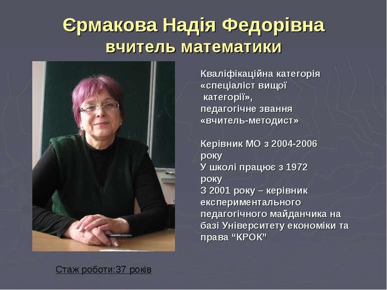 Єрмакова Надія Федорівна вчитель математики Кваліфікаційна категорія «спеціал...