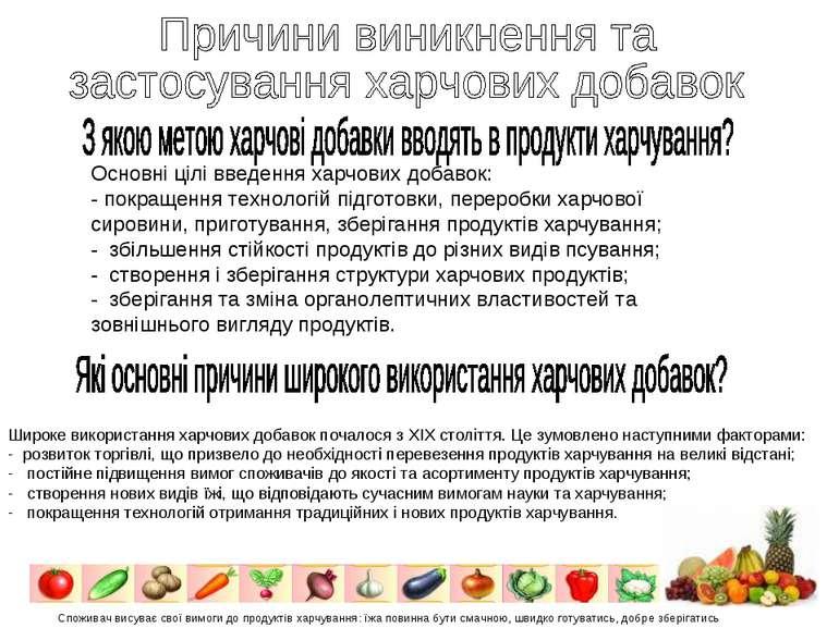 Основні цілі введення харчових добавок: - покращення технологій підготовки, п...