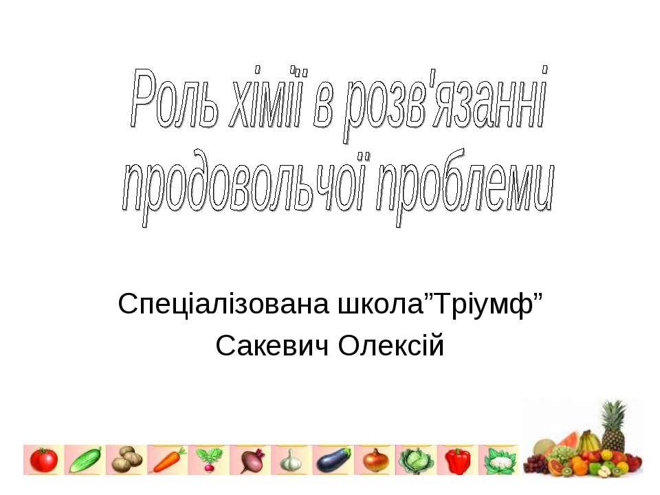 """Спеціалізована школа""""Тріумф"""" Сакевич Олексій"""