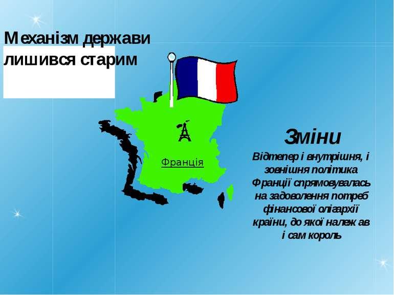Механізм держави лишився старим Франція Відтепер і внутрішня, і зовнішня полі...