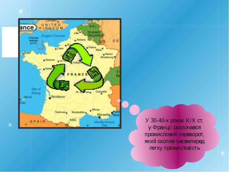 У 30-40-х роках XIX ст. у Франції розпочався промисловий переворот, який охоп...