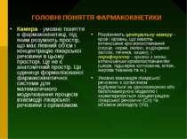 ГОЛОВНІ ПОНЯТТЯ ФАРМАКОКІНЕТИКИ Камера - умовне поняття в фармакокінетиці, пі...