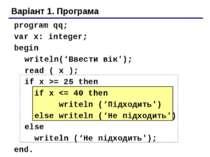 Варіант 1. Програма program qq; var x: integer; begin writeln('Ввести вік'); ...