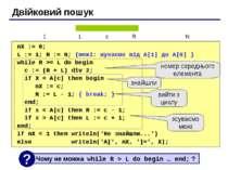 Двійковий пошук nX := 0; L := 1; R := N; {межі: шукаємо від A[1] до A[N] } wh...