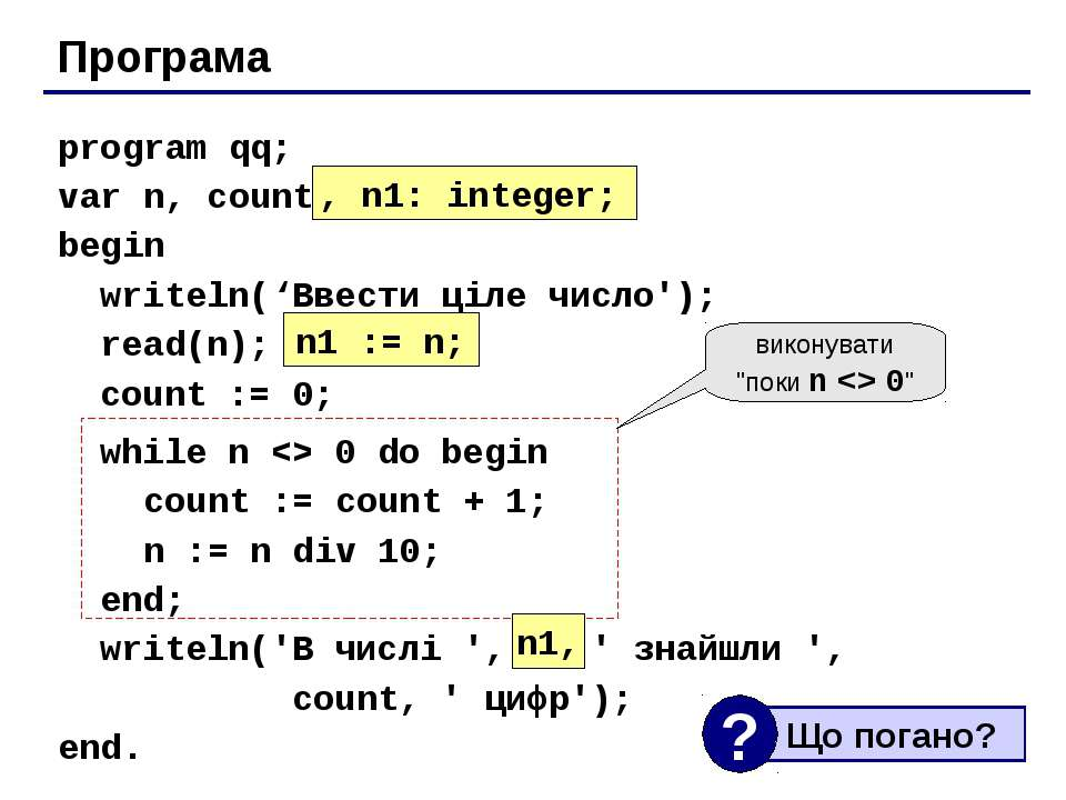 Програма program qq; var n, count: integer; begin writeln('Ввести ціле число'...
