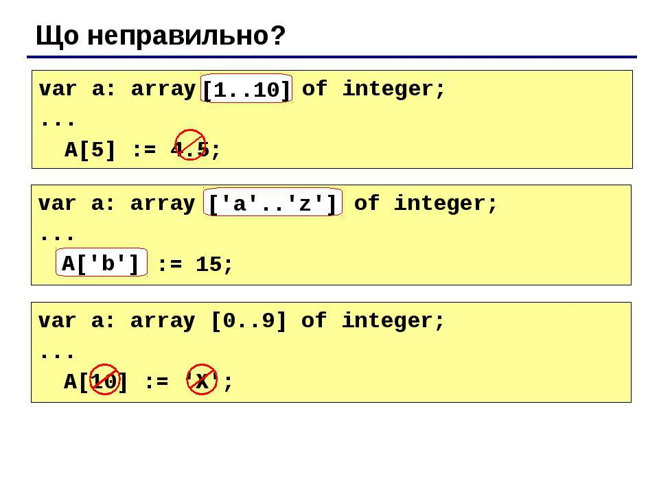 Що неправильно? var a: array[10..1] of integer; ... A[5] := 4.5; [1..10] var ...