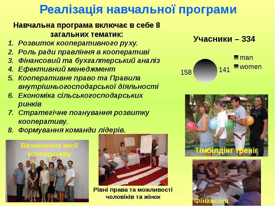 Навчальна програма включає в себе 8 загальних тематик: Розвиток кооперативног...