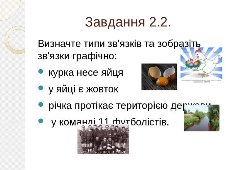 Завдання 2.2. Визначте типи зв'язків та зобразіть зв'язки графічно: курка нес...
