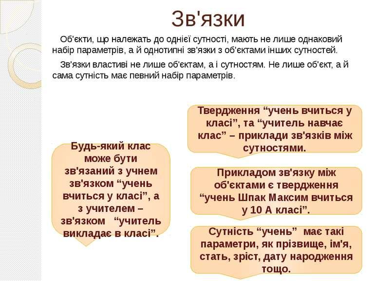 Зв'язки Об'єкти, що належать до однієї сутності, мають не лише однаковий набі...