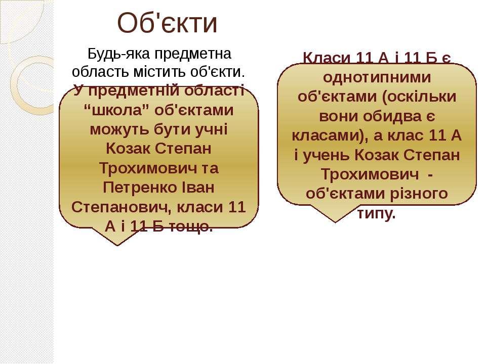 """Об'єкти Будь-яка предметна область містить об'єкти. У предметній області """"шко..."""
