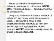 Умова зазвичай стосується обох таблиць, вказаних до і після слів INNER JOIN (...