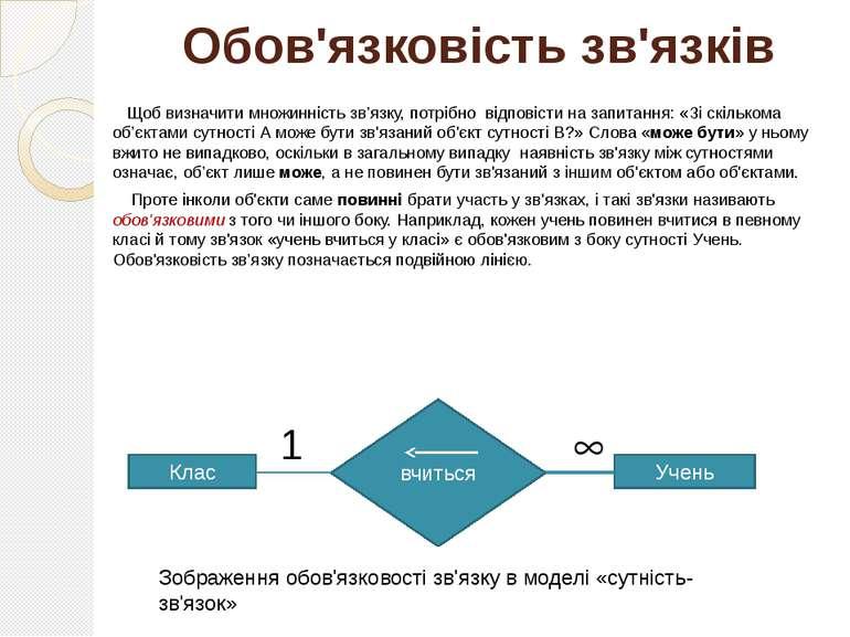 Обов'язковість зв'язків Щоб визначити множинність зв'язку, потрібно відповіст...