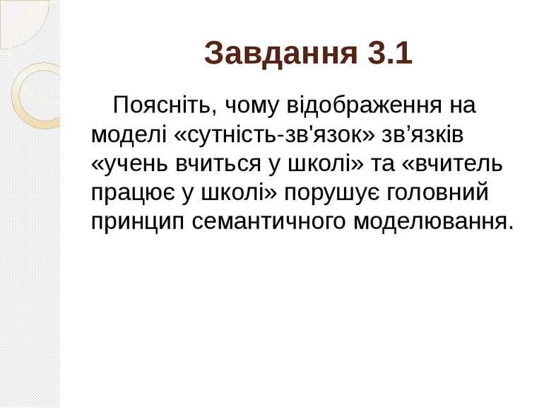 Завдання 3.1 Поясніть, чому відображення на моделі «сутність-зв'язок» зв'язкі...