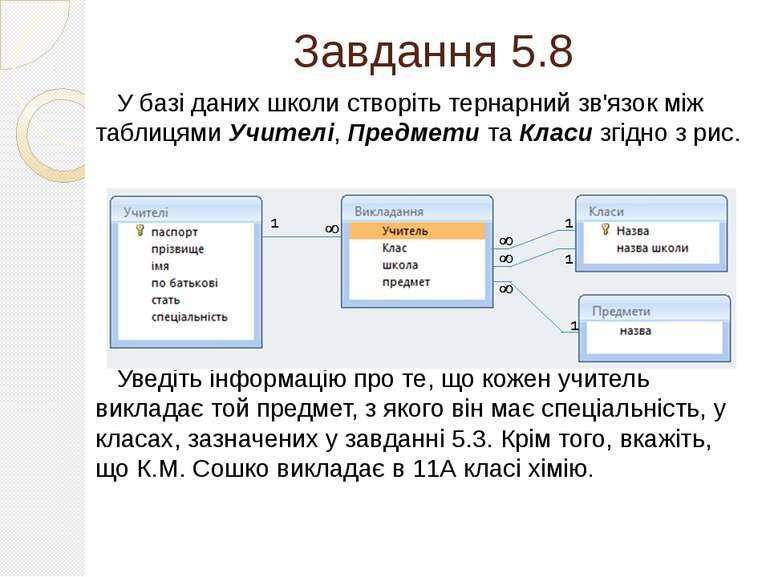 Завдання 5.8 У базі даних школи створіть тернарний зв'язок між таблицями Учит...