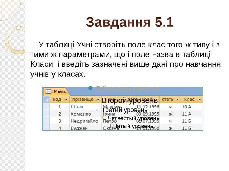 Завдання 5.1 У таблиці Учні створіть поле клас того ж типу і з тими ж парамет...