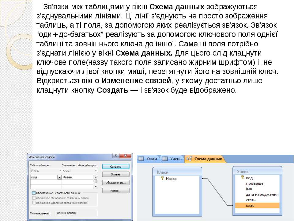 Зв'язки між таблицями у вікні Схема данных зображуються з'єднувальними лініям...