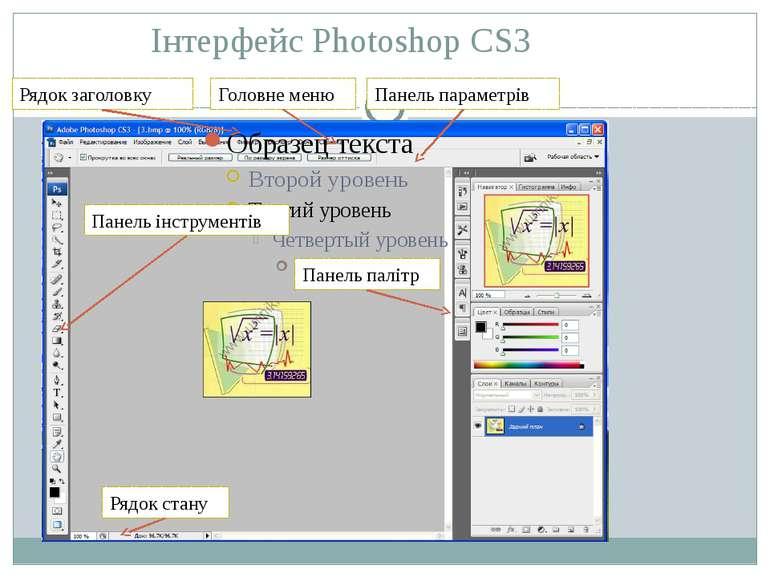 Інтерфейс Photoshop CS3 Рядок заголовку Головне меню Панель параметрів Панель...