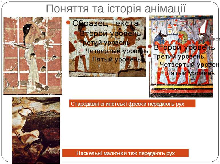 Поняття та історія анімації Стародавні єгипетські фрески передають рух Наскел...