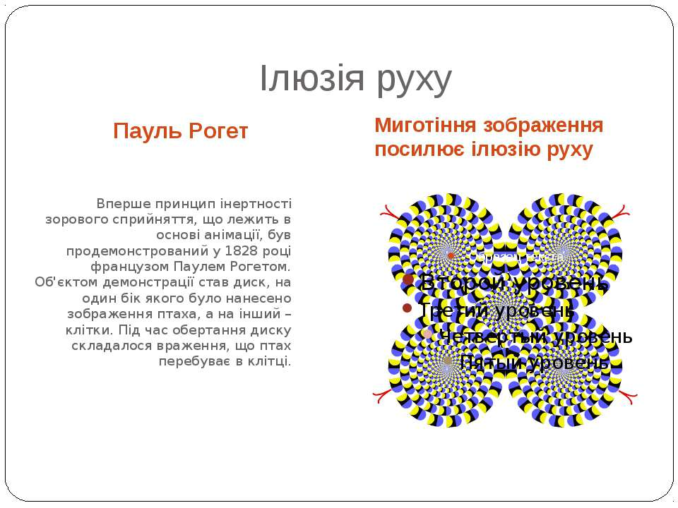 Ілюзія руху Пауль Рогет Миготіння зображення посилює ілюзію руху Вперше принц...