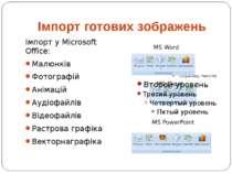 Імпорт готових зображень Імпорт у Microsoft Office: Малюнків Фотографій Аніма...