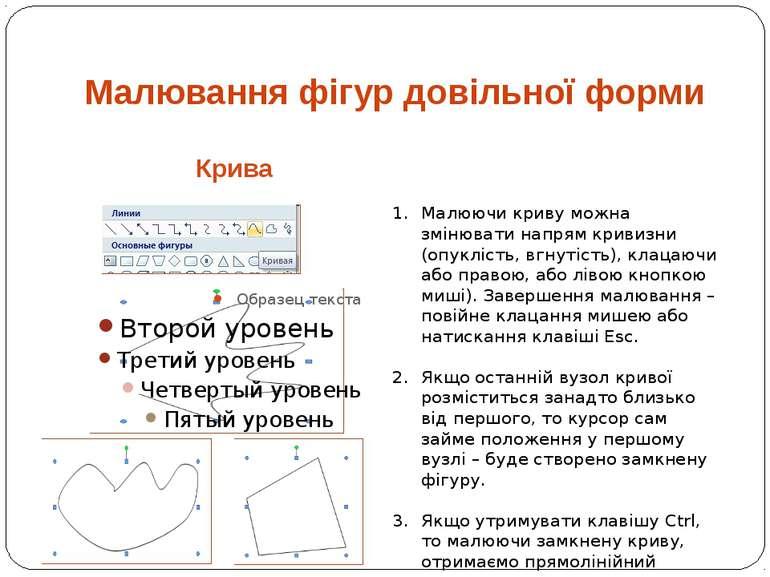 Крива Малювання фігур довільної форми Малюючи криву можна змінювати напрям кр...