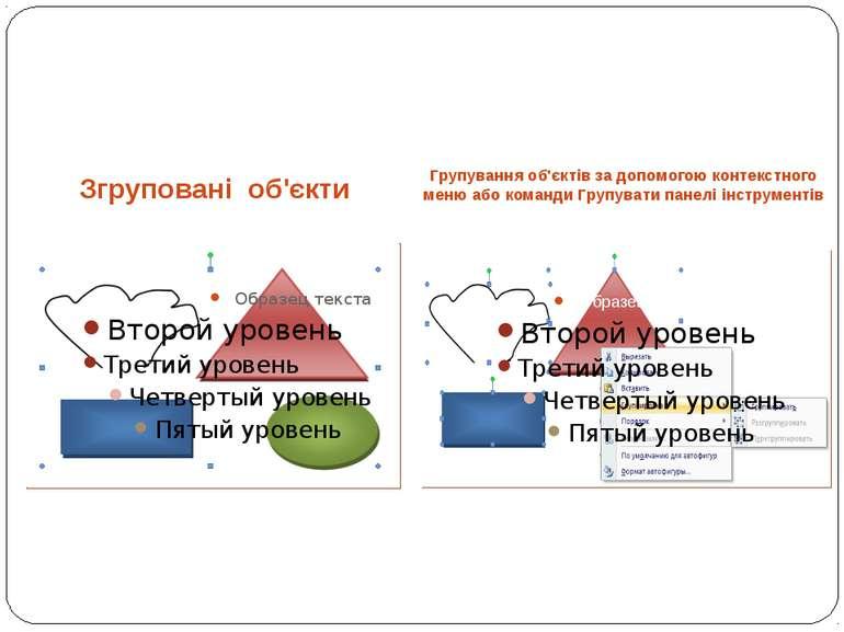 Групування об'єктів за допомогою контекстного меню або команди Групувати пане...
