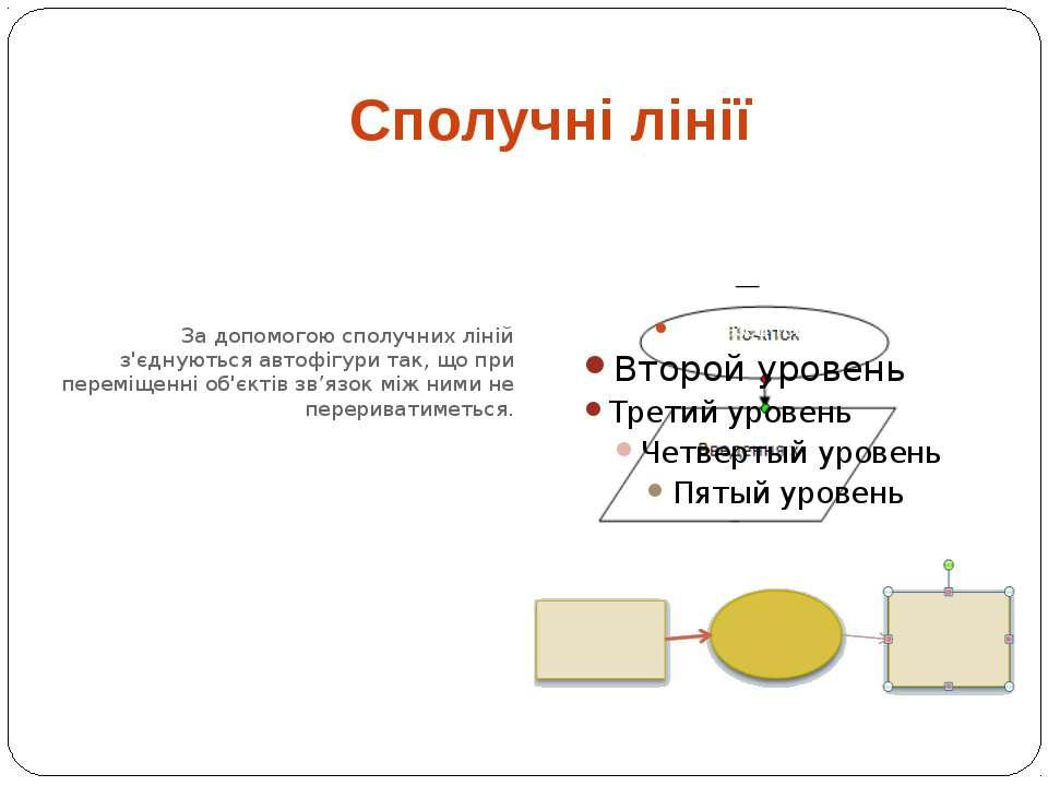 За допомогою сполучних ліній з'єднуються автофігури так, що при переміщенні о...