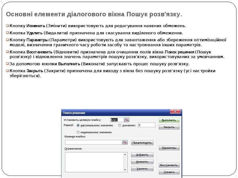 Основні елементи діалогового вікна Пошук розв'язку. Кнопку Изменить (Змінити)...