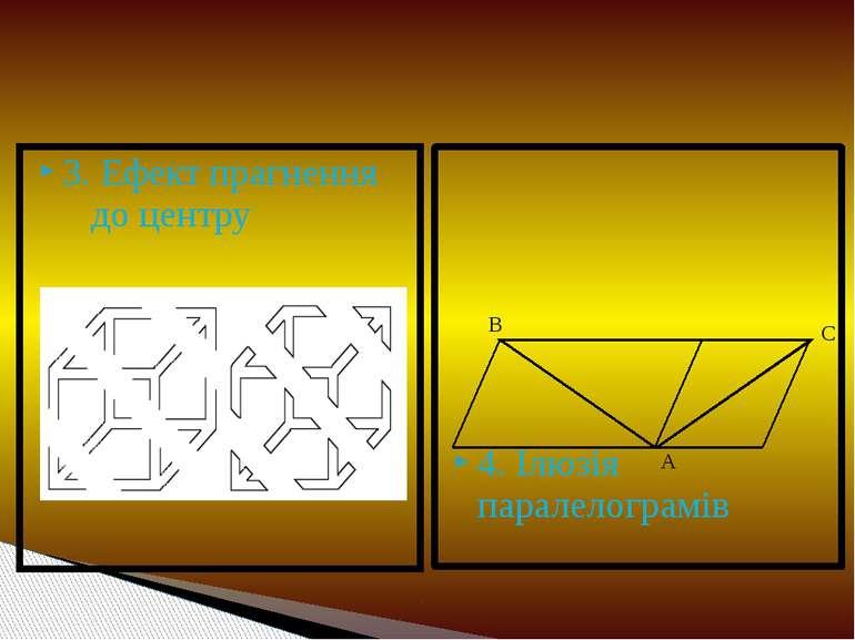 3. Ефект прагнення до центру 4. Ілюзія паралелограмів В С А