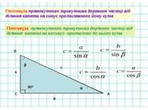 Гіпотенуза прямокутного трикутника дорівнює частці від ділення катета на сину...