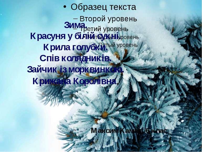 Зима. Красуня у білій сукні. Крила голубки. Спів колядників. Зайчик із моркви...