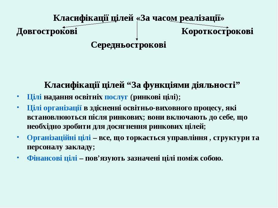 Класифікації цілей «За часом реалізації» Довгострокові Короткострокові Середн...