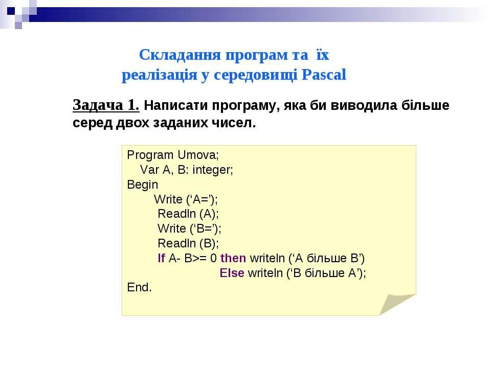 Складання програм та їх реалізація у середовищі Pascal Задача 1. Написати про...