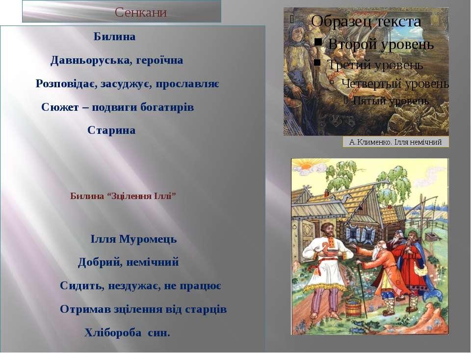 Сенкани Билина Давньоруська, героїчна Розповідає, засуджує, прославляє Сюжет ...