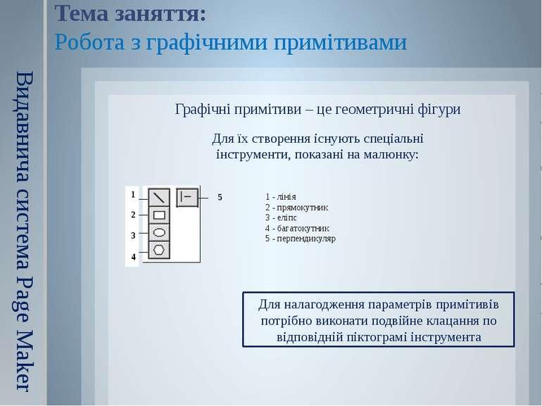 Видавнича система Page Maker Графічні примітиви – це геометричні фігури Для н...